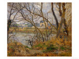 Banks of the River Oise Near Pontoise  Grey Sky  1878