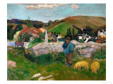 Peasants  Pigs  and a Village Under a Clear Sky  Landscape in Brittany  France  1888
