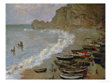 Etretat: The Beach and Harbour of Amont  1883