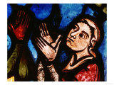 Noah&#39;s Wife Praying as God Speaks to the Couple  Detail from the Noah Window