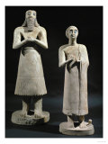 Two Gypsum Statuettes with Folded Hands