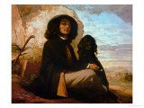 Self-Portrait with Black Dog
