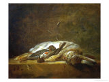 A Hare  Two Dead Thrushes  a Few Stalks of Straw on a Stone Table  Around 1750
