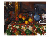 Still Life with Peaches  Carafe and Figures  circa 1900