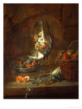Dead Partridge Hung by One Leg  Bowl with Prunes  and a Basket with Pears  Around 1728