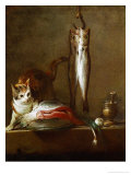 A Cat with a Piece of Salmon  Two Mackerels  Mortar and Pestle  1728