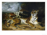 A Young Tiger Playing with Its Mother  1830