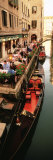 Gondolas Moored Outside of a Cafe  Venice  Italy