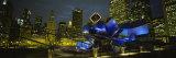 Buildings Lit Up at Night  Pritzker Pavilion  Millennium Park  Chicago  Illinois  USA