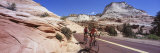 Two People Cycling on the Road  Zion National Park  Utah  USA