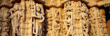 Sculptures Carved on a Wall of a Temple  Jain Temple  Ranakpur  Rajasthan  India