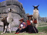 Local Indian Women with Domestic Llamas  Sacsayhumman  Cusco  Peru  South America