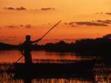 Gaucho Poling Canoe at Sunset  Ibera Marshes National Reserve  Argentina  South America