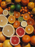Citrus Fruits  Orange  Grapefruit  Lemon  Sliced in Half Showing Different Colours  Europe