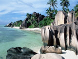 Rocky Coast and Beach  La Digue  Anse Source D&#39;Argent  Seychelles