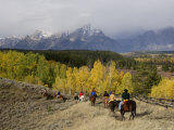 Tourists Enjoying Horseback Riding  Grand Teton National Park  Wyoming  USA