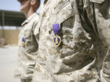 Machine Gunners Stand at the Position of Attention with Their Purple Heart Awards