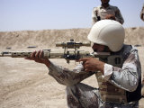 Iraqi Army Sergeant Sights in Down Range During an Advanced Marksmanship Course