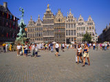 Restored Guildhouses  and the Brabo Fountain  Grote Markt  Antwerp  Belgium