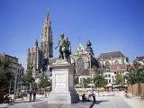 Statue of Rubens  Cathedral  and Groen Plaats  Antwerp  Belgium