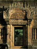 Finely Carved Doorway Within Temple of Banteay Srei  Founded in 967 AD  Angkor  Siem Reap