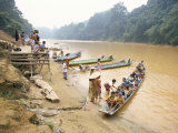 Longboat Crowded with Children Leaving for Week at School  Katibas River  Island of Borneo