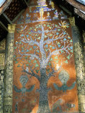 Glass Mosaic of Tree of Life on Wall of the 16th Century Sim  Wat Xiang Thong  Luang Prabang  Laos