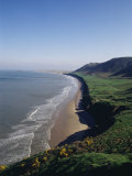 Looking from the Cliffs at Rhossili  Towards Llangennith at Far West of the Gower Peninsula  Wales