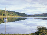 Yacht on Loch Feochan in Autumn  Argyll and Bute  Scotland  United Kingdom