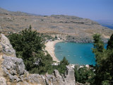 Lindos Beach from the Acropolis  Rhodes  Greek Islands  Greece