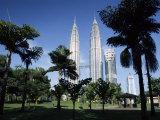 Petronas Twin Towers Seen from Public Park  Kuala Lumpur  Malaysia  Southeast Asia