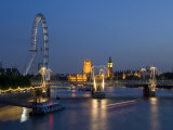 Houses of Parliament and London Eye at Dusk  London  England  United Kingdom
