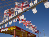 Funfair Flags on Beach  Selsey Bill  Sussex  England  United Kingdom