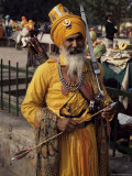 Sikh Man in Ceremonial Dress  Bangla Sahib Gurdwara  Delhi  India