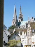 Spires of Notre Dame Cathedral  and Old Town  Chartres  Centre Val De Loire  France