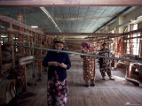 Handloom Silk Weaving  Margilan  Uzbekistan  Central Asia