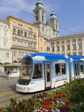 Tram and Old Cathedral  Hauptplatz  Linz  Austria