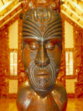Maori Statue with 'Moko' Facial Tattoo  New Zealand