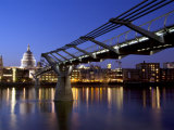 Millennium Bridge and St Pauls Cathedral  London  England  UK