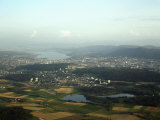 Aerial View of the City  Lakes and Surrounding Hills  Zurich  Switzerland