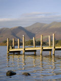 Wooden Jetty at Barrow Bay Landing on Derwent Water Looking North to Skiddaw in Autumn