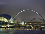 The Sage and the Tyne and Millennium Bridges at Night  Tyne and Wear  UK