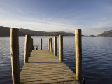 Wooden Jetty at Barrow Bay Landing on Derwent Water Looking North West in Autumn