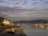 Boats in the Evening Sun at Low Tide on the Dovey Estuary  Aberdovey  Gwynedd  Wales