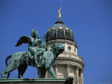 Statue and Dome of French Cathedral  Gendarmenmarkt  Berlin  Germany