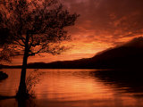 Red Sky at Sunset  Coniston Water  Consiton  Lake District  Cumbria  England  United Kingdom