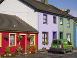 Green Post Van Outside Houses in Main Street of Historical Village on Ring of Beara Tourist Route