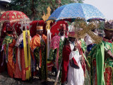 Procession for Christian Festival of Rameaux  Axoum (Axum) (Aksum)  Tigre Region  Ethiopia  Africa