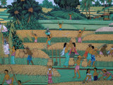 Painting of People Harvesting in Rice Fields  Neka Museum  Ubud  Island of Bali  Indonesia