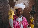 Portrait of a Man Holding Christian Symbols  Bieta Mercurios  Wollo Region  Ethiopia